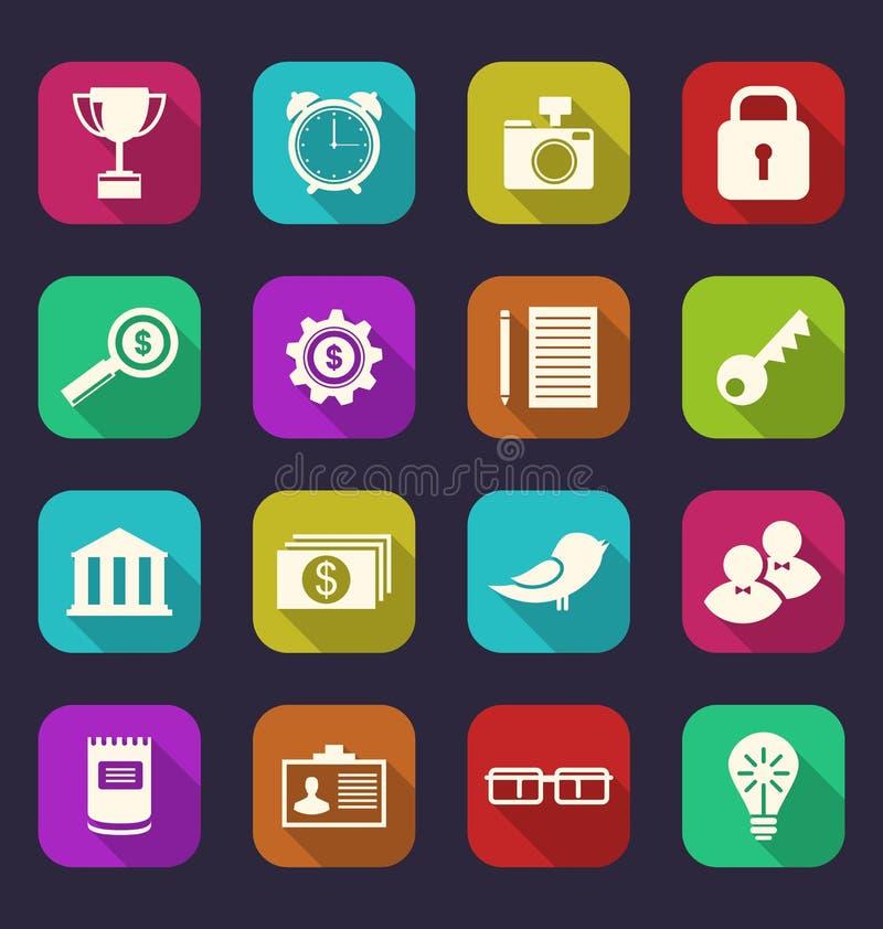 Καθορισμένα επίπεδα εικονίδια της επιχείρησης, του γραφείου και των οικονομικών στοιχείων, WI ύφους ελεύθερη απεικόνιση δικαιώματος
