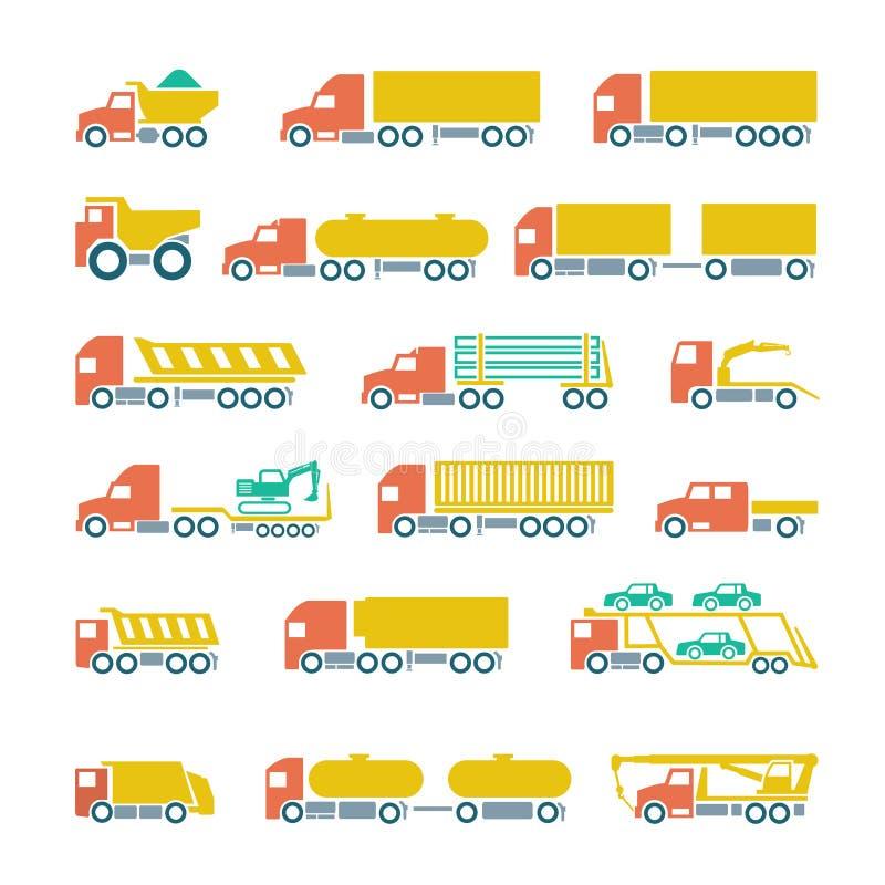 Καθορισμένα επίπεδα εικονίδια των φορτηγών, των ρυμουλκών και των οχημάτων απεικόνιση αποθεμάτων