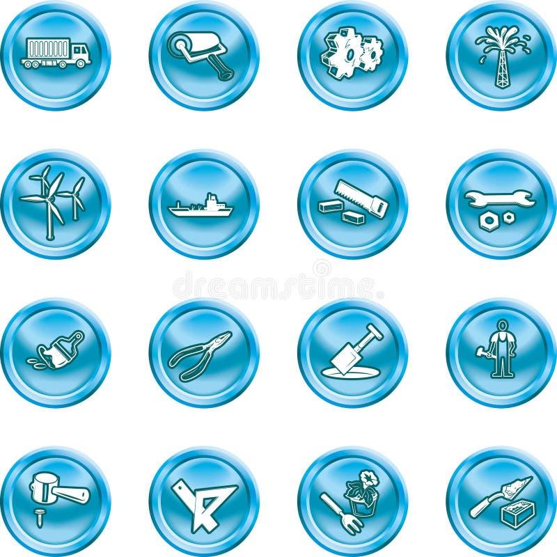 καθορισμένα εργαλεία βιομηχανίας εικονιδίων διανυσματική απεικόνιση