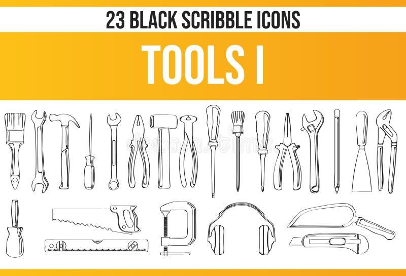 Καθορισμένα εργαλεία Ι εικονιδίων κακογραφίας μαύρα διανυσματική απεικόνιση