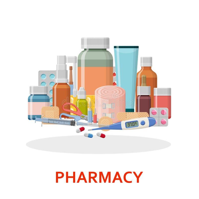 καθορισμένα εργαλεία φαρμακείων ιατρικής φαρμάκων ανασκόπησης Διαφορετικά ιατρικά χάπια, ασβεστοκονίαμα, θερμόμετρο, σύριγγα και  διανυσματική απεικόνιση