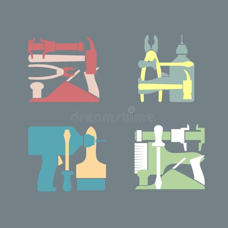 Καθορισμένα εργαλεία κατασκευής λογότυπων απεικόνιση αποθεμάτων