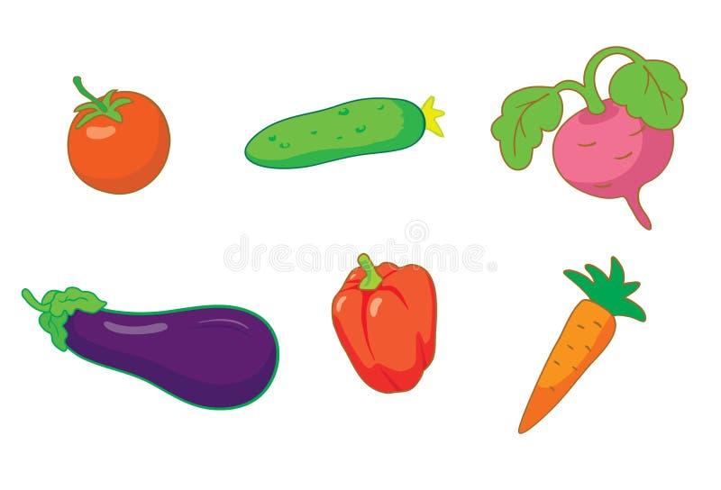 καθορισμένα θερινά λαχανικά εικονιδίων απεικόνιση αποθεμάτων