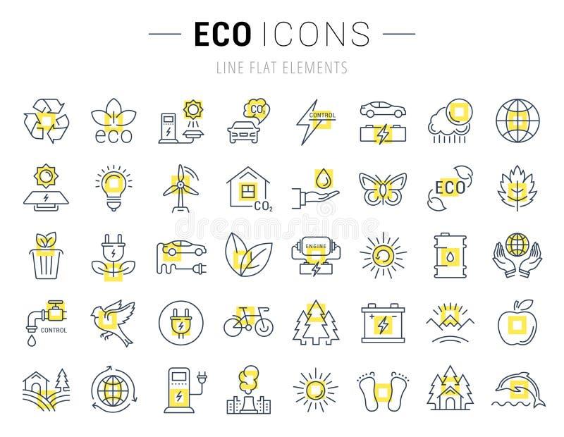 Καθορισμένα διανυσματικά επίπεδα εικονίδια Eco γραμμών και βιο διανυσματική απεικόνιση
