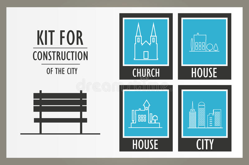 Καθορισμένα διανυσματικά στοιχεία του αστικού τοπίου ελεύθερη απεικόνιση δικαιώματος