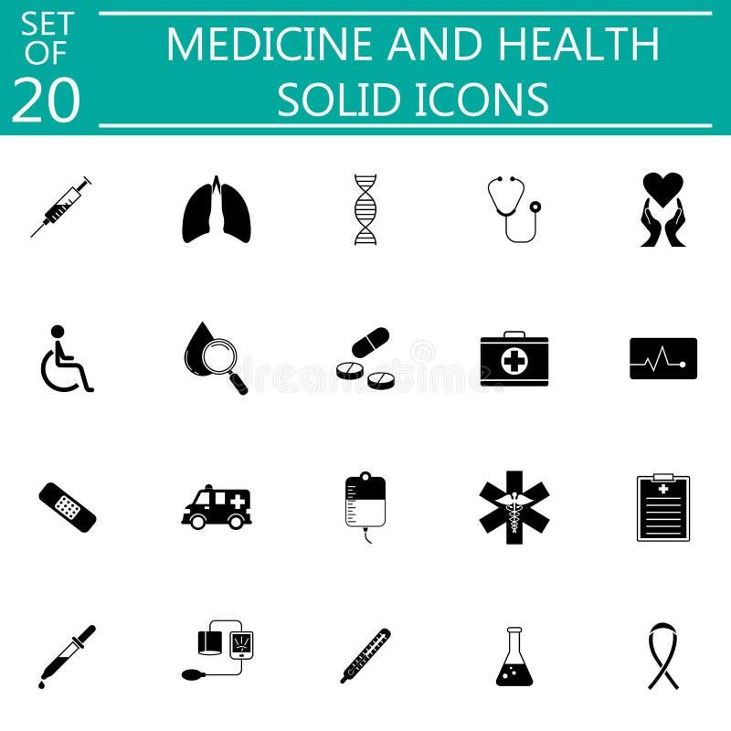 Καθορισμένα ιατρικά σύμβολα εικονιδίων ιατρικής και υγείας στερεά ελεύθερη απεικόνιση δικαιώματος