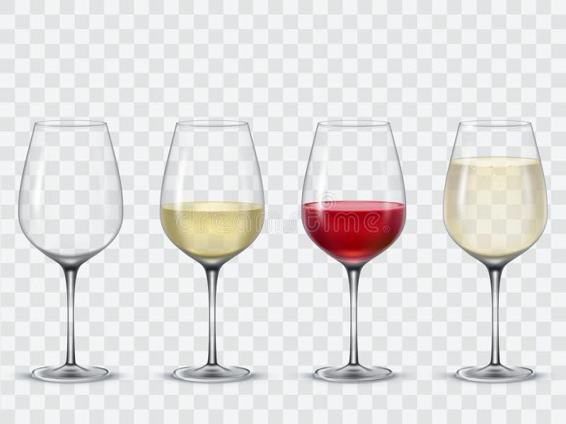 Καθορισμένα διαφανή διανυσματικά γυαλιά κρασιού απεικόνιση αποθεμάτων