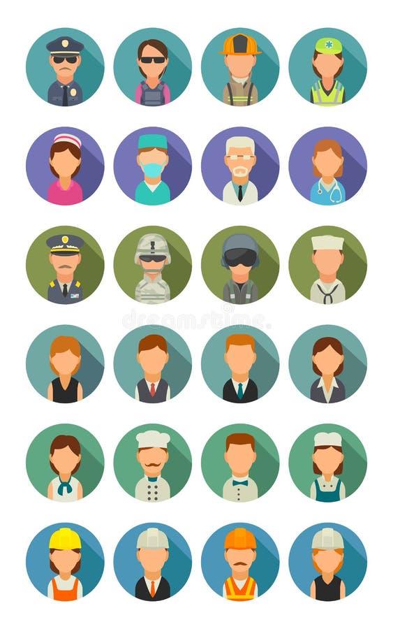 Καθορισμένα διαφορετικά επαγγέλματα εικονιδίων Μάγειρας χαρακτήρα, οικοδόμος, επιχείρηση, στρατός και ιατρικοί άνθρωποι ελεύθερη απεικόνιση δικαιώματος