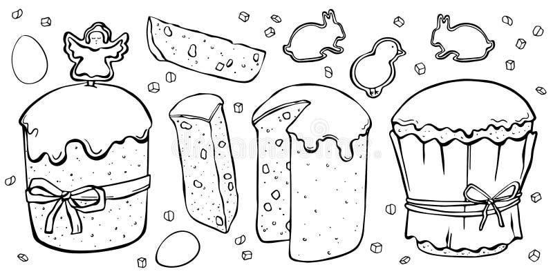 Καθορισμένα κέικ Πάσχας με τα μπισκότα ελεύθερη απεικόνιση δικαιώματος