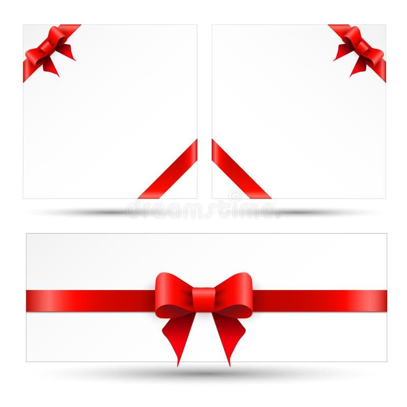 Καθορισμένα κόκκινα τόξα δώρων με τις κορδέλλες διανυσματική απεικόνιση