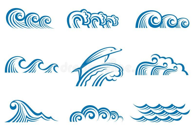 καθορισμένα κύματα διανυσματική απεικόνιση