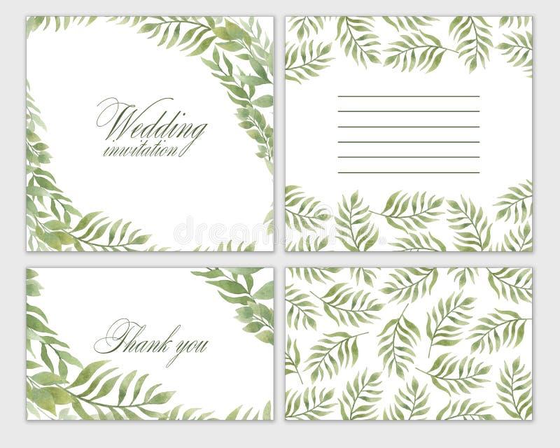 Καθορισμένα λουλούδια πλαισίων γαμήλιας πρόσκλησης, φύλλα, watercolor, που απομονώνεται στο λευκό ελεύθερη απεικόνιση δικαιώματος