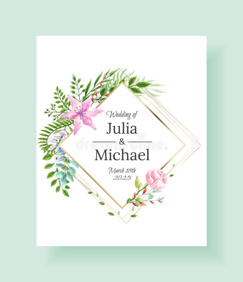 Καθορισμένα λουλούδια πλαισίων γαμήλιας πρόσκλησης, φύλλα, watercolor, που απομονώνεται στο λευκό Σκιαγραφημένη floral και χορταρ διανυσματική απεικόνιση