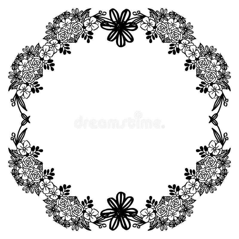 Καθορισμένα μαύρα σύνορα στο άσπρο υπόβαθρο, για διακοσμητικό του όμορφου και μοναδικού floral πλαισίου r απεικόνιση αποθεμάτων