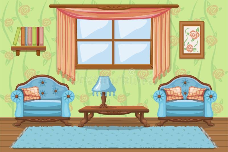Καθορισμένα μειωμένα κινούμενα σχέδια έπιπλα, καθιστικό διανυσματική απεικόνιση