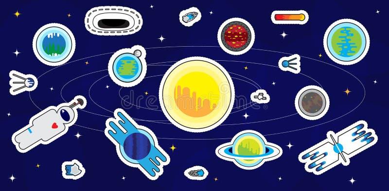 Καθορισμένα μπαλώματα, αυτοκόλλητες ετικέττες και διακριτικά κινούμενων σχεδίων Διαστημικοί καθορισμένοι πλανήτες Αντικείμενα στο ελεύθερη απεικόνιση δικαιώματος