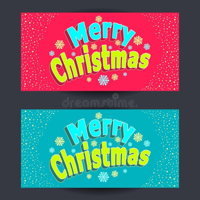 Καθορισμένα οριζόντια εμβλήματα Χαρούμενα Χριστούγεννας στο ύφος κινούμενων σχεδίων στο κόκκινο και στο μπλε ελεύθερη απεικόνιση δικαιώματος