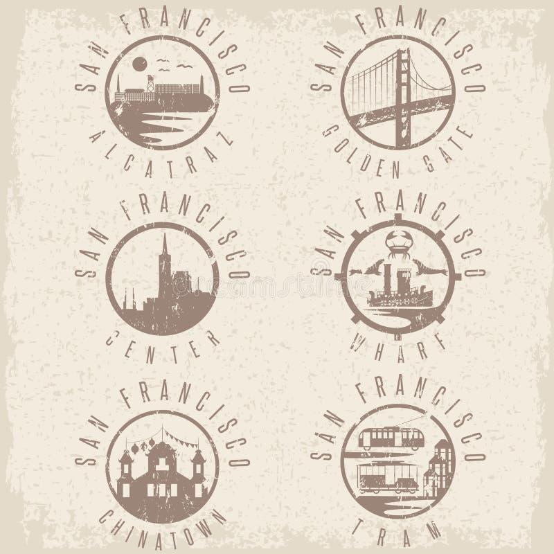 Καθορισμένα ορόσημα ετικετών Grunge του Σαν Φρανσίσκο Καλιφόρνια, ΗΠΑ απεικόνιση αποθεμάτων