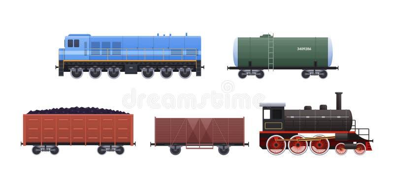 Καθορισμένα οχήματα και τραίνα σιδηροδρόμων Βαγόνια εμπορευμάτων με τους επιβάτες, φορτίο, δεξαμενές διανυσματική απεικόνιση