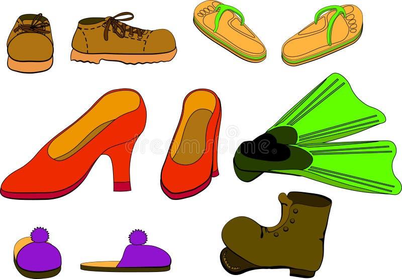 καθορισμένα παπούτσια διανυσματική απεικόνιση