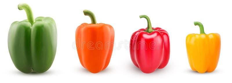 Καθορισμένα πράσινα, κόκκινα, πορτοκαλιά, κίτρινα πιπέρια κουδουνιών στοκ φωτογραφία με δικαίωμα ελεύθερης χρήσης
