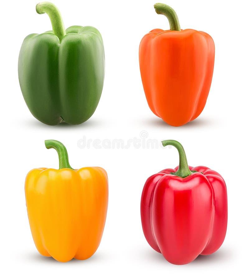 Καθορισμένα πράσινα, κόκκινα, πορτοκαλιά, κίτρινα πιπέρια κουδουνιών στοκ εικόνες