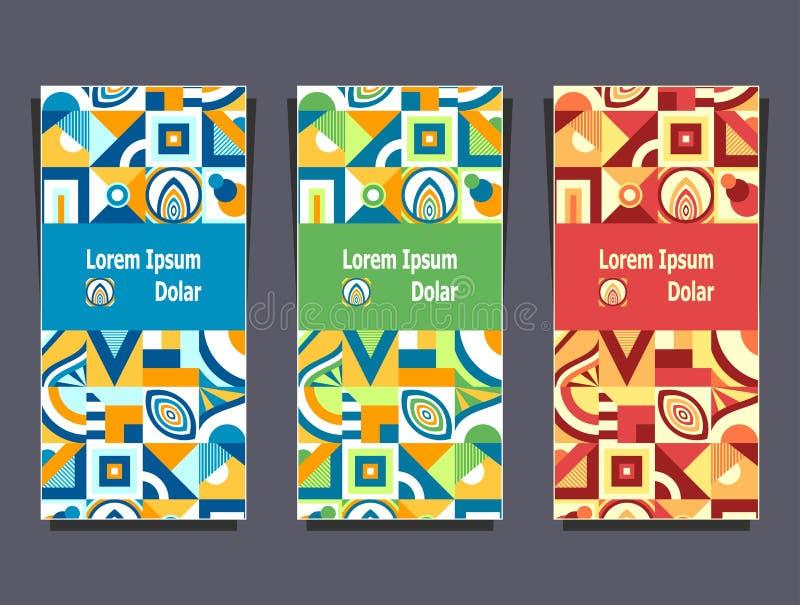 Καθορισμένα πρότυπα με τα αφηρημένα γεωμετρικά ζωηρόχρωμα χρώματα σχεδίων διανυσματική απεικόνιση