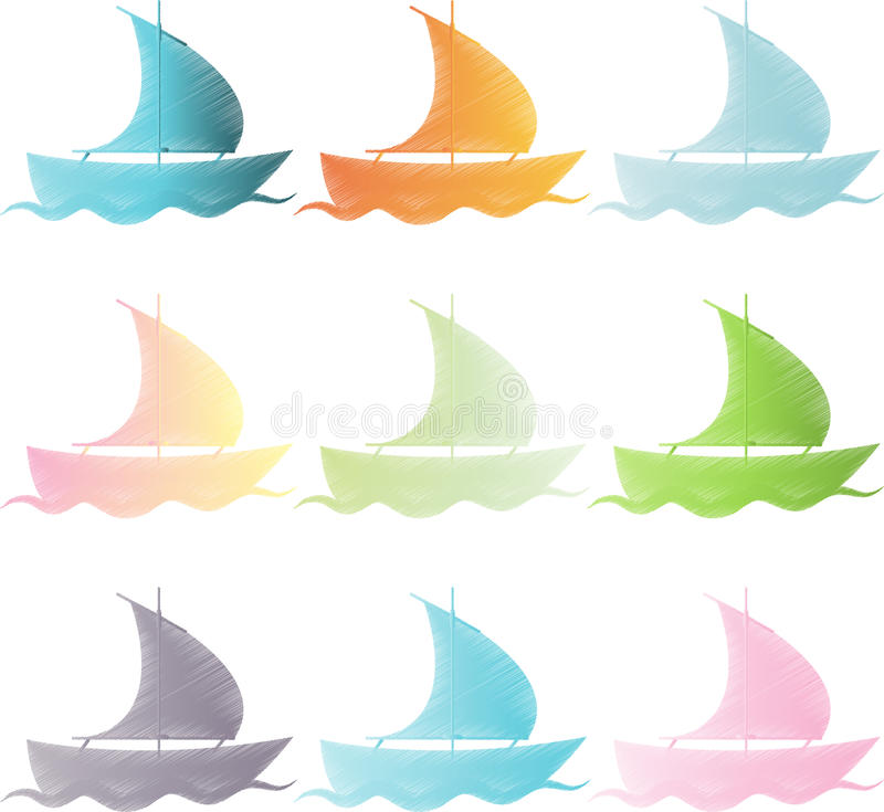 Καθορισμένα σκάφη στο χρώμα στοκ φωτογραφίες