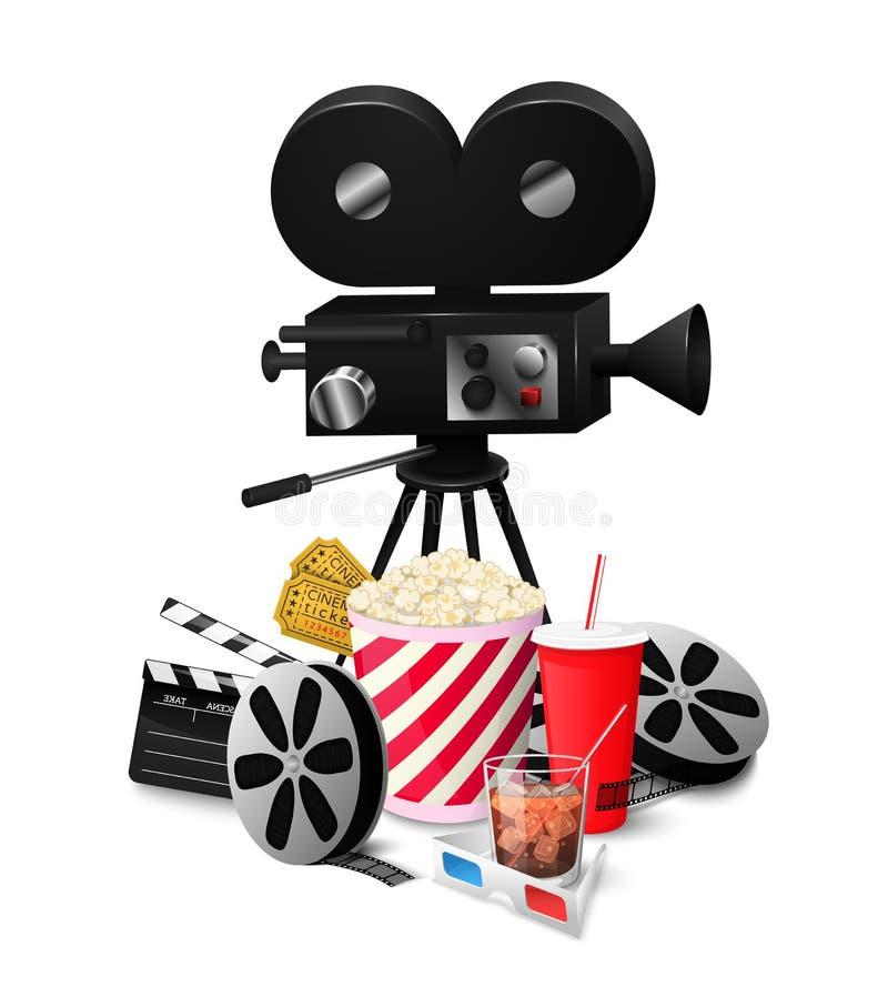 Καθορισμένα στοιχεία κινηματογράφων που απομονώνονται στην άσπρη διανυσματική απεικόνιση υποβάθρου απεικόνιση αποθεμάτων