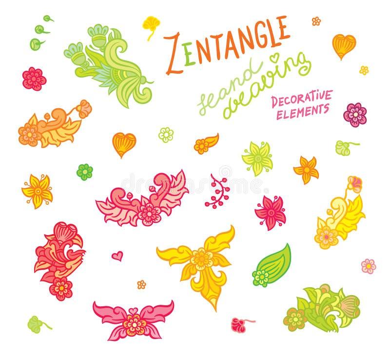 Καθορισμένα στοιχεία σχεδίων χεριών zentangle διανυσματική απεικόνιση