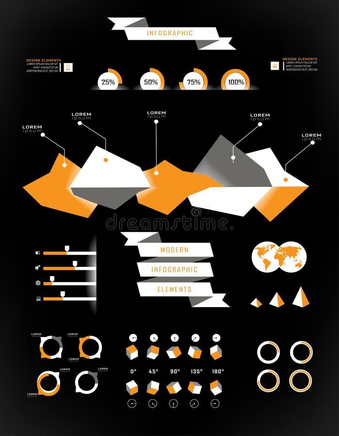 Καθορισμένα στοιχεία του infographics διανυσματική απεικόνιση