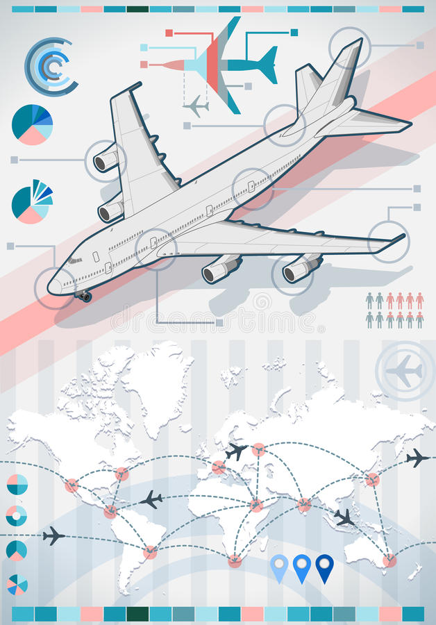 Καθορισμένα στοιχεία Infographic με το αεροπλάνο απεικόνιση αποθεμάτων
