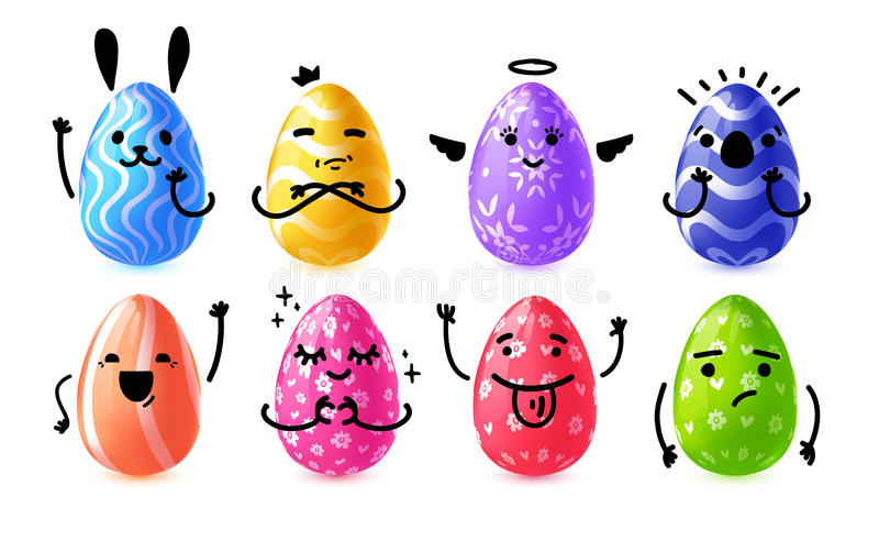 Καθορισμένα συναισθηματικά αυγά σχεδίου για ευτυχές Πάσχα Συλλογή ευτυχής, κουνέλι, χαριτωμένο αυγό Πάσχας χαρακτήρα για το έμβλη ελεύθερη απεικόνιση δικαιώματος