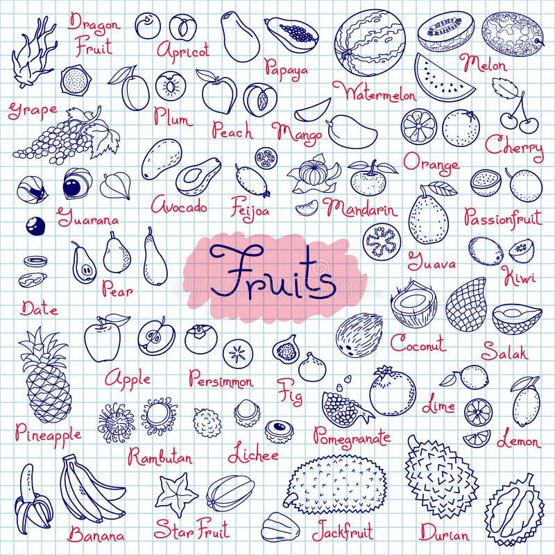Καθορισμένα σχέδια των φρούτων για το προϊόν επιλογών, συνταγών και συσκευασιών σχεδίου επίσης corel σύρετε το διάνυσμα απεικόνισ απεικόνιση αποθεμάτων
