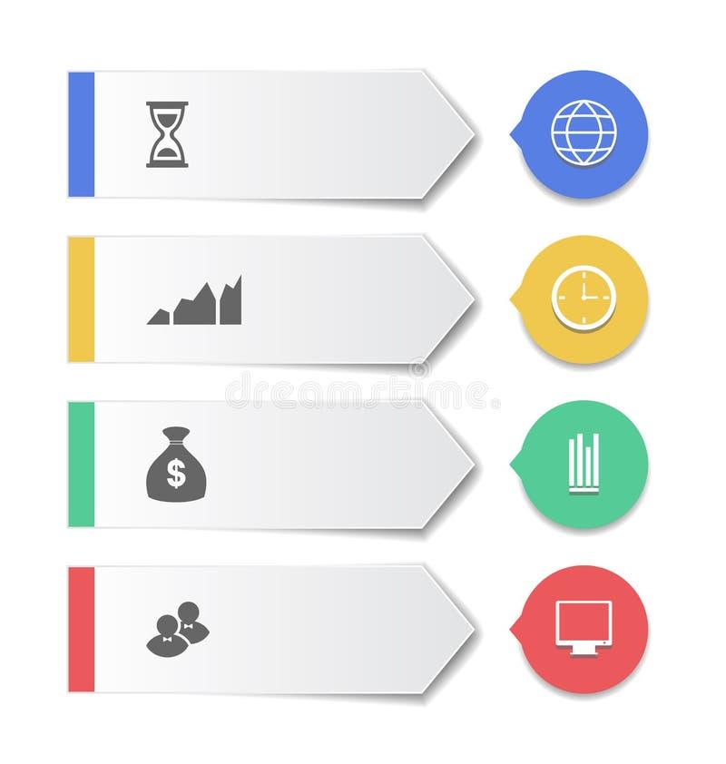 Καθορισμένα σύγχρονα επιχειρησιακά εμβλήματα με τα infographic εικονίδια ελεύθερη απεικόνιση δικαιώματος