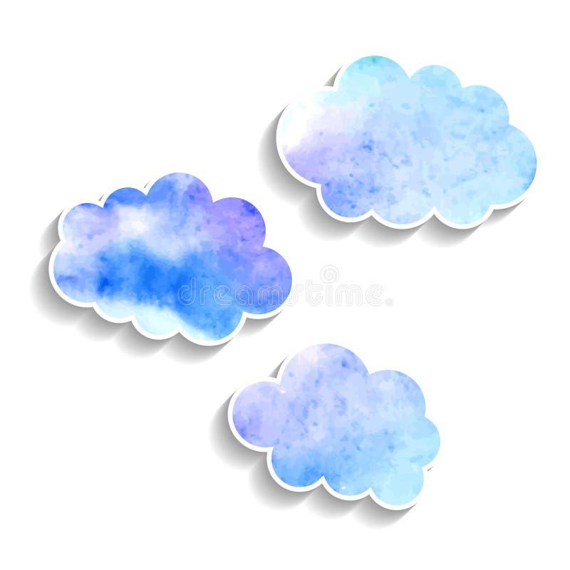 Καθορισμένα σύννεφα watercolor  ελεύθερη απεικόνιση δικαιώματος