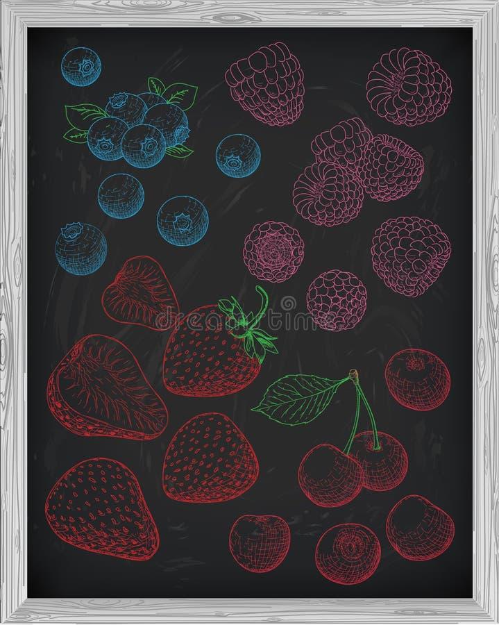 Καθορισμένα φρέσκα σμέουρο και βακκίνιο κερασιών φραουλών μούρων Cha διανυσματική απεικόνιση