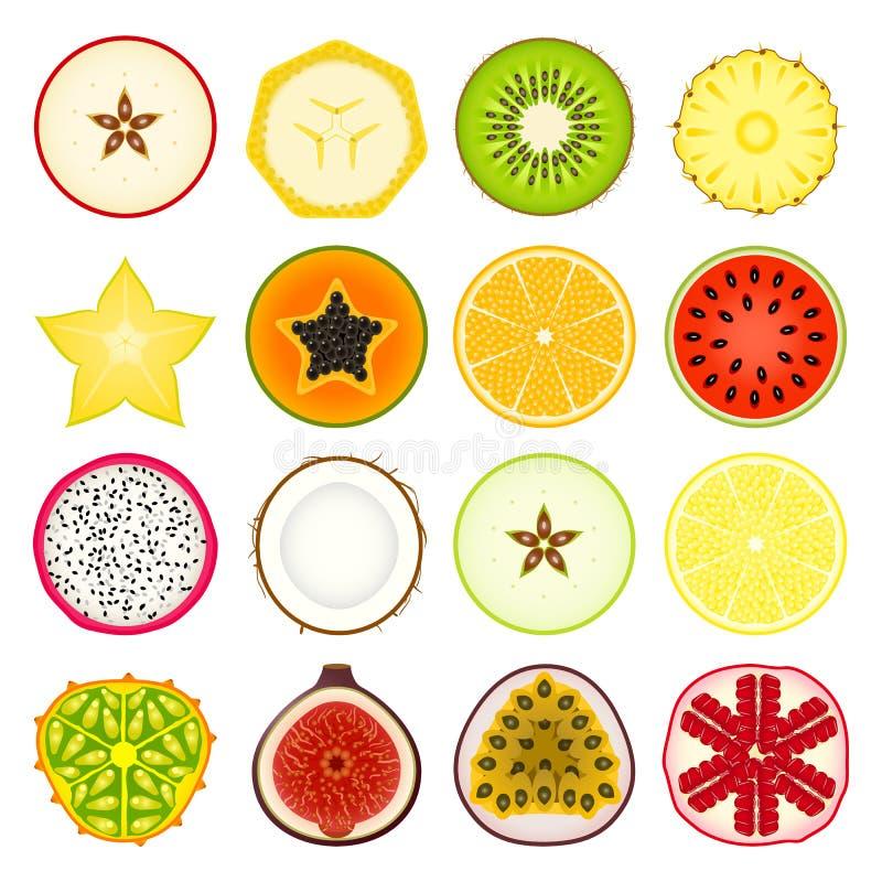 Καθορισμένα φρούτα εικονιδίων ελεύθερη απεικόνιση δικαιώματος