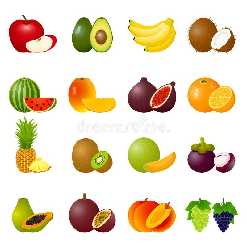 Καθορισμένα φρούτα εικονιδίων διανυσματική απεικόνιση