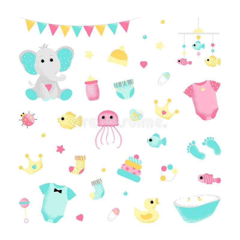 Καθορισμένα χαριτωμένα εικονίδια για ένα ντους μωρών διανυσματική απεικόνιση