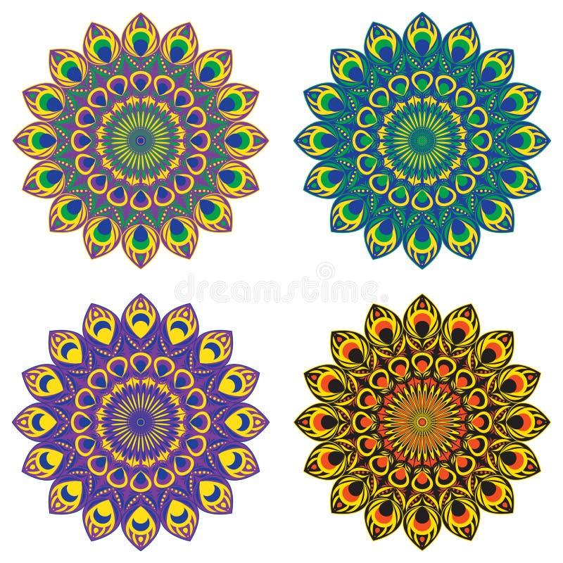 Καθορισμένα mandalas OA τέσσερα στοκ εικόνα