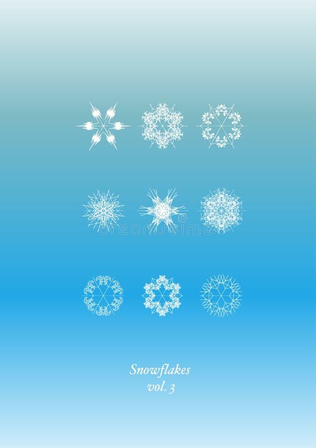 καθορισμένα snowflakes εικονιδί&omeg διανυσματική απεικόνιση
