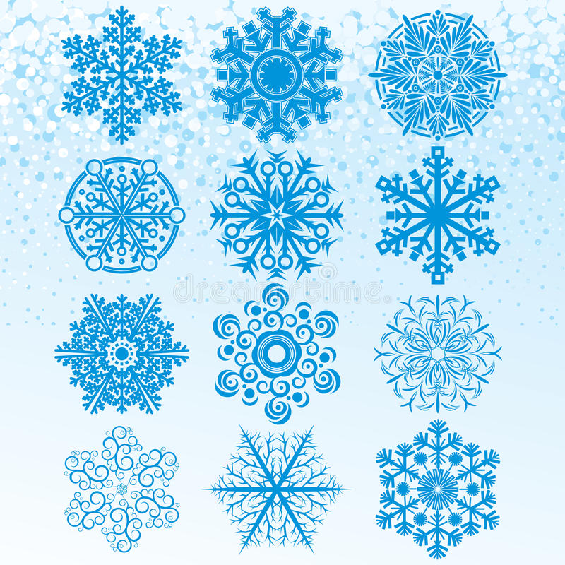 καθορισμένα snowflakes ελεύθερη απεικόνιση δικαιώματος