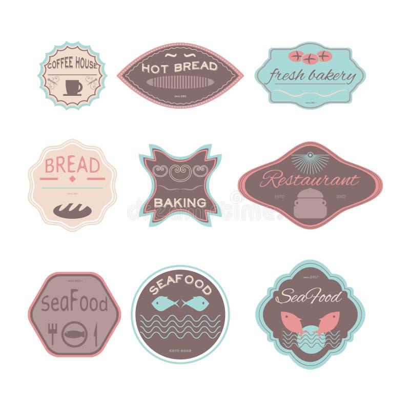 Καθορισμένες αναδρομικές εκλεκτής ποιότητας διακριτικά, κορδέλλες και ετικέτες hipster απεικόνιση αποθεμάτων