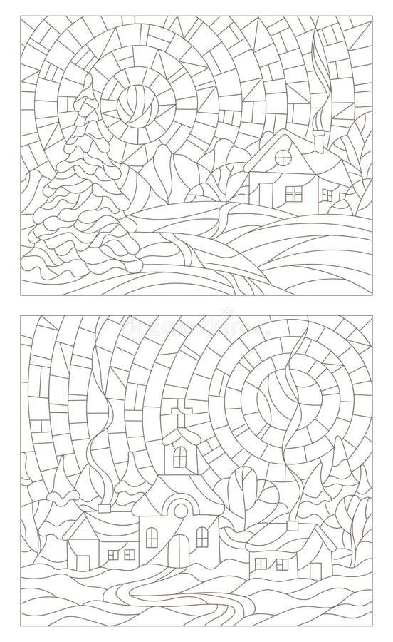 Καθορισμένες απεικονίσεις περιγράμματος των λεκιασμένων παραθύρων γυαλιού με τα χειμερινά τοπία ελεύθερη απεικόνιση δικαιώματος
