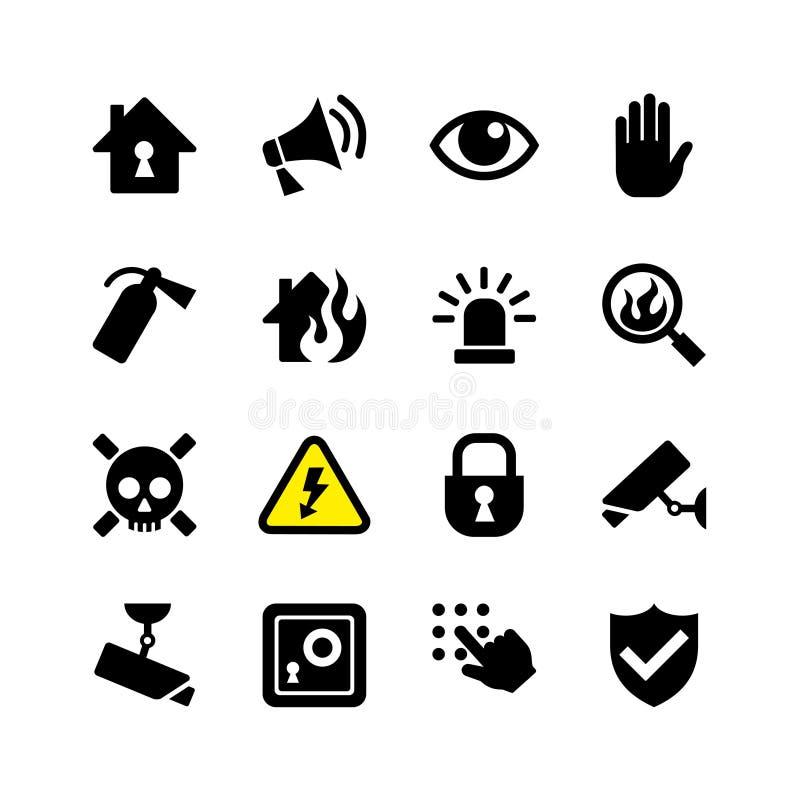 Καθορισμένες ασφάλεια και επιτήρηση εικονιδίων Ιστού διανυσματική απεικόνιση