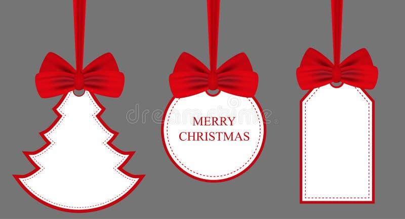 Καθορισμένες αυτοκόλλητες ετικέττες και ετικέτες με τα κόκκινα τόξα Διακοπές Χριστούγεννα ή νέα σύμβολα έτους διάνυσμα διανυσματική απεικόνιση