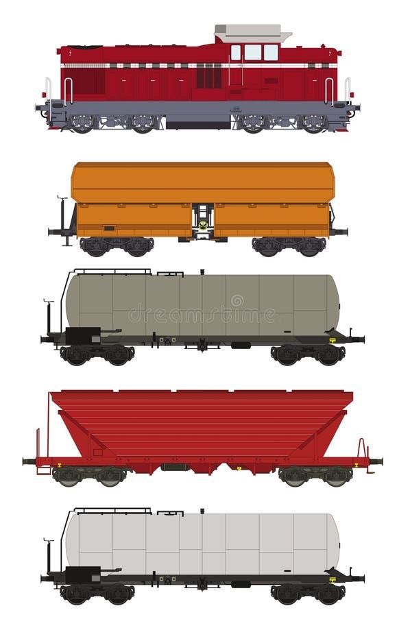 Καθορισμένες βαγόνια εμπορευμάτων και ατμομηχανή φορτίου τραίνων διανυσματική απεικόνιση