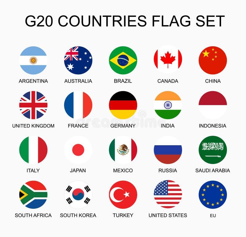 Καθορισμένες επίπεδες ζωηρόχρωμες διανυσματικές σημαίες κύκλων των μελών χωρών G20 Ομάδα εθνών ελεύθερη απεικόνιση δικαιώματος