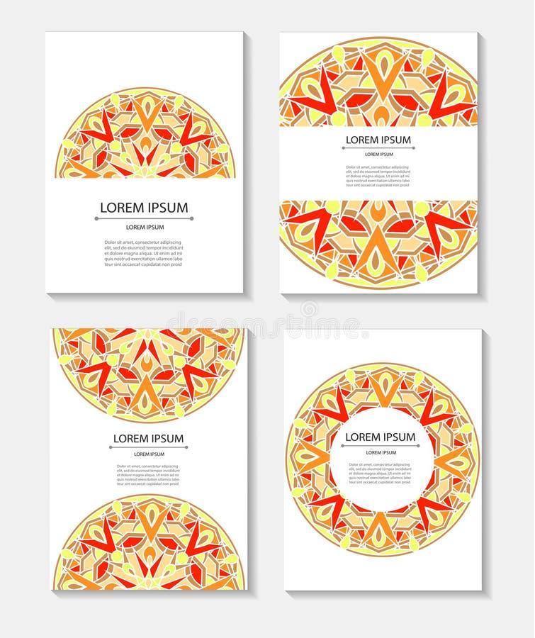 Καθορισμένες επαγγελματικές κάρτες και προσκλήσεις προτύπων με τα κυκλικά σχέδια των mandalas απεικόνιση αποθεμάτων